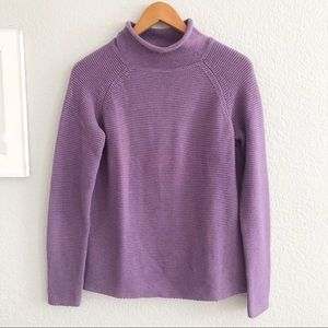 J. McLaughlin Purple Mock Neck Chunky Knit Sweater